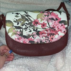 Maroon Purse with Floral Print